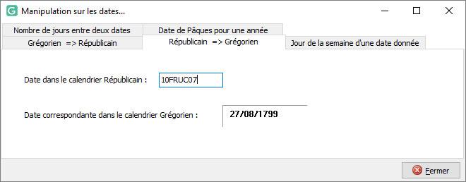 Conversion d'une date du calendrier révoutionnaire